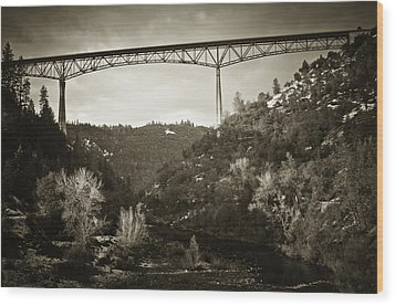 Wood Print featuring the photograph Foresthill Bridge In The Snow #3 by Sherri Meyer