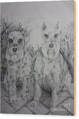 Wood Print featuring the drawing Forever Friends by Laurianna Taylor