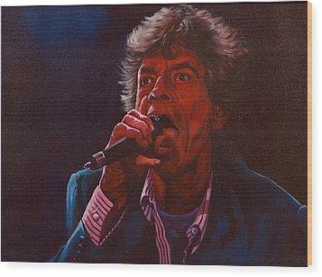 Forever Mick Wood Print by Debbie Patrick