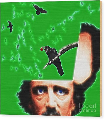 Forevermore - Edgar Allan Poe - Green - Square Wood Print by Wingsdomain Art and Photography