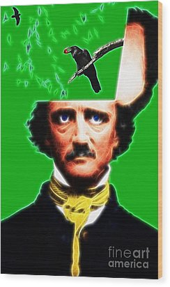 Forevermore - Edgar Allan Poe - Green - Standard Size Wood Print by Wingsdomain Art and Photography