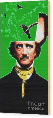 Forevermore - Edgar Allan Poe - Green Wood Print by Wingsdomain Art and Photography
