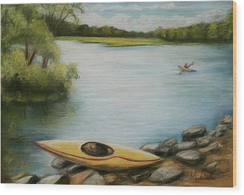 Wood Print featuring the painting Forge Pond by Melinda Saminski