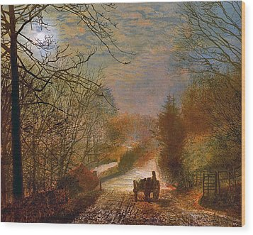 Forge Valley Near Scarborough Wood Print by John Atkinson Grimshaw