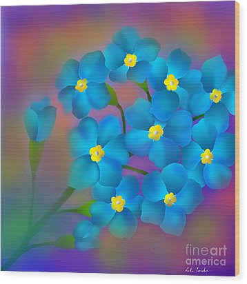 Wood Print featuring the digital art Forget- Me -not Flowers by Latha Gokuldas Panicker
