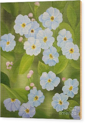Forget Me Nots Wood Print by Jimmie Bartlett