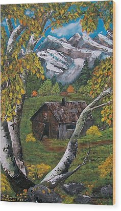 Wood Print featuring the painting Forgotten Cabin  by Sharon Duguay