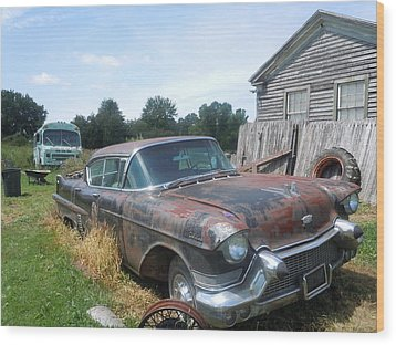 Forgotten Cadillac Wood Print by James Guentner