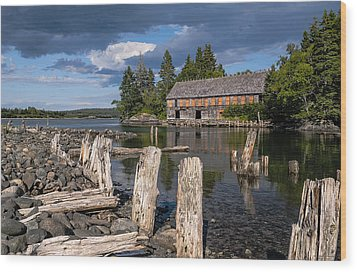 Forgotten Downeast Smokehouse Wood Print by Marty Saccone