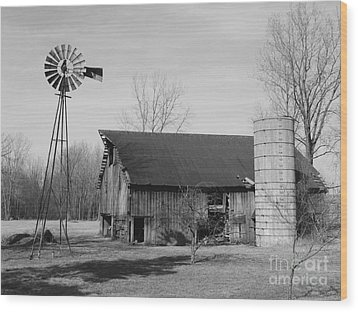 Forgotten Farm In Black And White Wood Print by Judy Whitton