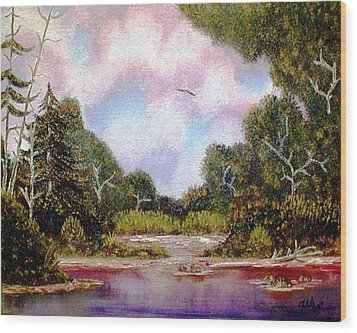 Wood Print featuring the painting Forgotten Inlet by The GYPSY And DEBBIE