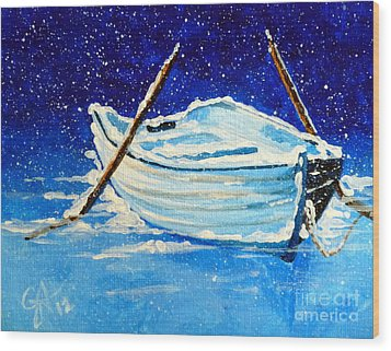 Wood Print featuring the painting Forgotten Rowboat by Jackie Carpenter