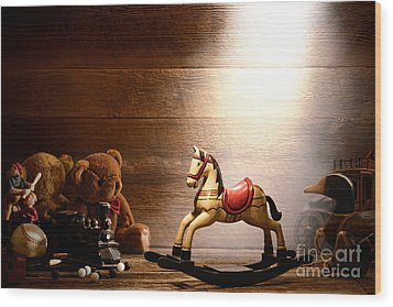 Forgotten Toys Wood Print by Olivier Le Queinec
