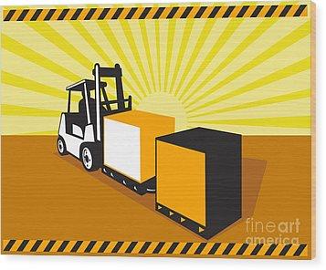 Forklift Truck Materials Handling Retro Wood Print by Aloysius Patrimonio
