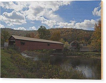 Forksville Covered Bridge Wood Print by Elsa Marie Santoro