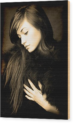 Forlorn Woman Wood Print