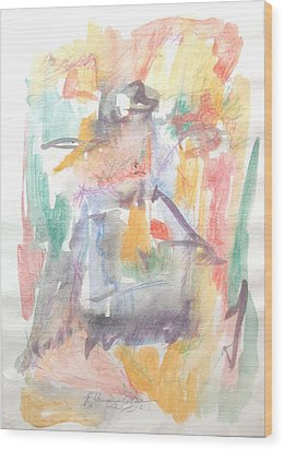 Wood Print featuring the painting Formal Signature by Esther Newman-Cohen