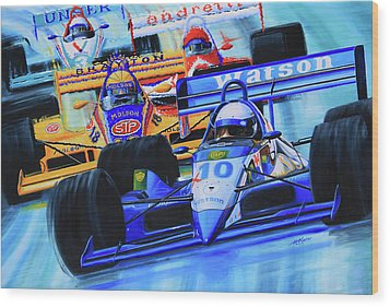 Formula 1 Race Wood Print by Hanne Lore Koehler