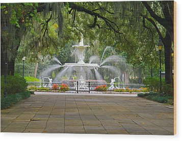 Forsyth Fountain Wood Print