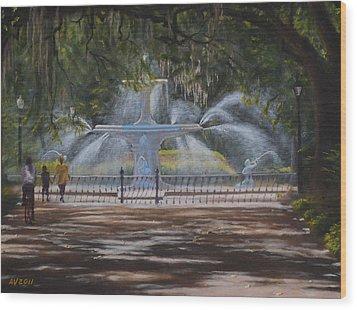 Forsyth Park Fountain Savannah Ga Wood Print by Alex Vishnevsky