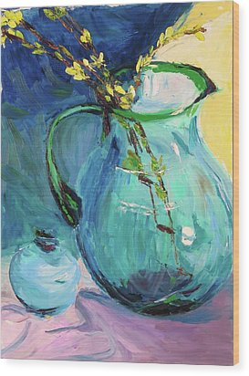 Forsythia In A Glass Jar Wood Print