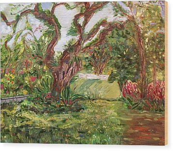 Wood Print featuring the painting Fort Canning Wonderland by Belinda Low