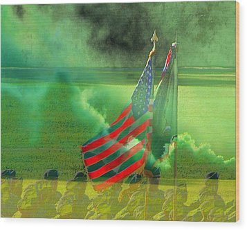 Fort Jackson Ceremony Wood Print by Cathy Lindsey