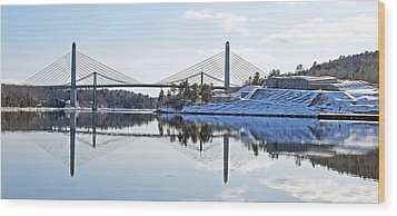 Fort Knox And Bridges Reflection In Winter Wood Print by Barbara West