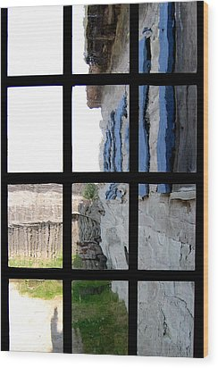 Wood Print featuring the photograph Fort Mackinac Through An Old Window by Mary Bedy