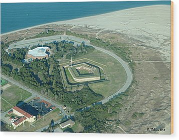 Fort Macon From The Air Wood Print