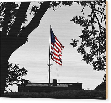 Fort Mchenry Flag Color Splash Wood Print by Bill Swartwout