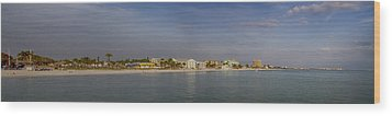 Fort Myers Beach Panorama Wood Print by Anne Rodkin