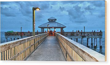 Wood Print featuring the photograph Fort Myers Beach Pier by Rosemary Aubut