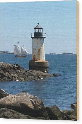 Fort Pickering Light Wood Print by Denyse Duhaime