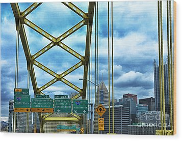 Fort Pitt Bridge And Downtown Pittsburgh Wood Print by Thomas R Fletcher