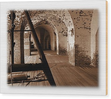 Wood Print featuring the photograph Fort Pulaski Arches Sepia by Jacqueline M Lewis