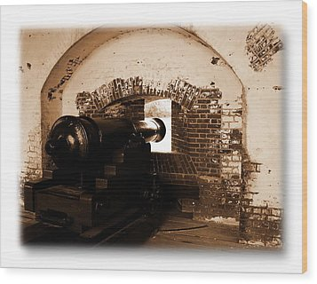 Wood Print featuring the photograph Fort Pulaski Canon Sepia by Jacqueline M Lewis