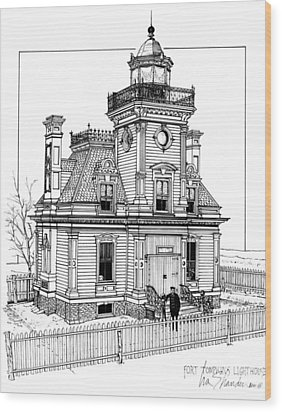 Fort Tompkins Lighthouse Wood Print by Ira Shander