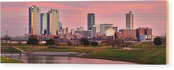 Wood Print featuring the photograph Fort Worth Skyline At Dusk Evening Color Evening Panorama Ft Worth Texas  by Jon Holiday