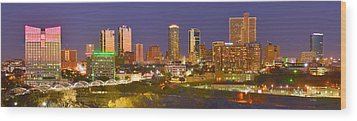 Wood Print featuring the photograph Fort Worth Skyline At Night Color Evening Panorama Ft. Worth Texas by Jon Holiday