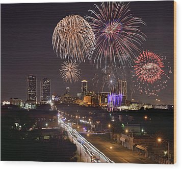 Wood Print featuring the photograph Fort Worth Skyline At Night Fireworks Color Evening Ft. Worth Texas by Jon Holiday