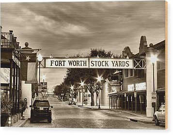 Fort Worth Stock Yards In Sepia Wood Print