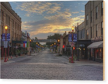 Fort Worth Stockyards Sunrise Wood Print