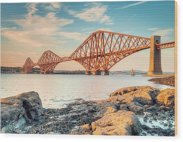 Forth Bridge At Sunset Wood Print by Ray Devlin