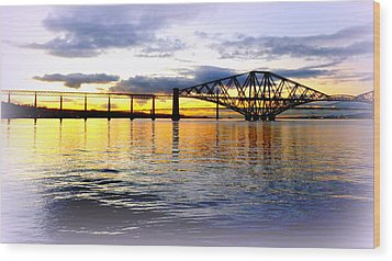 Forth Rail Bridge At Sunset Wood Print by The Creative Minds Art and Photography