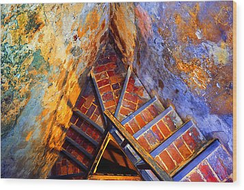 Fortress Steps Wood Print by Stephen Anderson