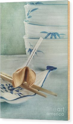 Fortune Cookie Wood Print by Priska Wettstein