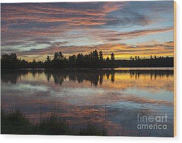 Fortune Lake Wood Print by Dan Hefle