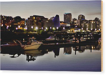 Foss Waterway At Night Wood Print by Ron Roberts