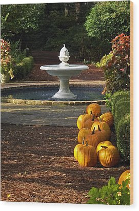 Wood Print featuring the photograph Fountain And Pumpkins At The Elizabethan Gardens by Greg Reed